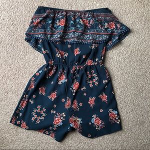 Charlotte Russe Floral Strapless Romper